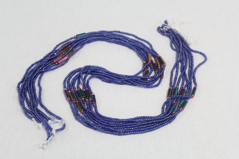 KROBO African Waist Beads - Blue w/multi-color Accent piece