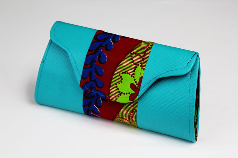 African Cloth Clutch Purse - Blue Leather Scallop
