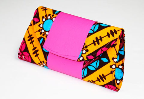 African Cloth Clutch Purse - Pink Leather Curve