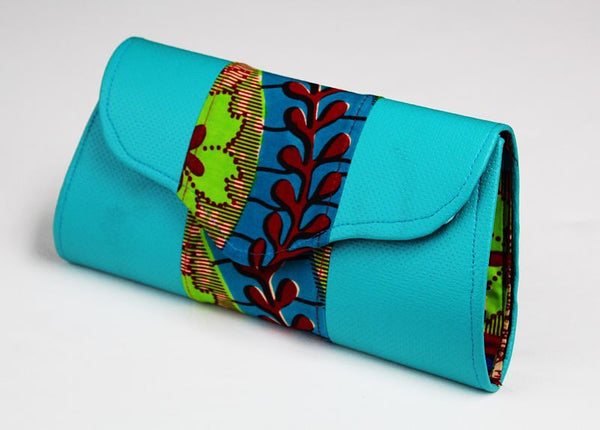 African Cloth Clutch Purse - Blue Leather Sides