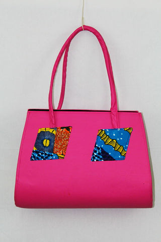 African Cloth Shoulder Bag - Pink Leather
