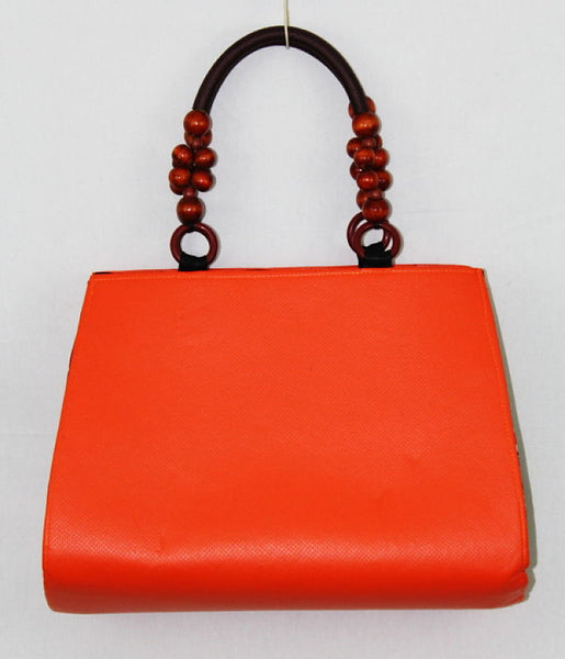 African Cloth Shoulder Bag - Orange Leather