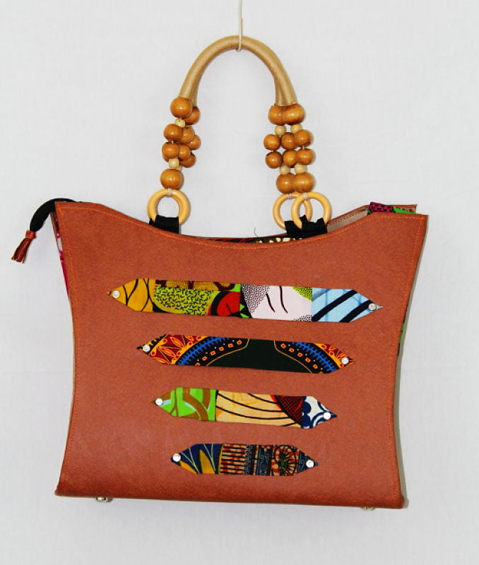 African Cloth Shoulder Bag - Brown Leather