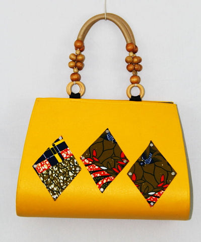 African Cloth Shoulder Bag  - Yellow Diamond