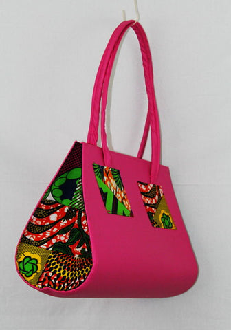 African Cloth Shoulder Bag  - Pink Diamond