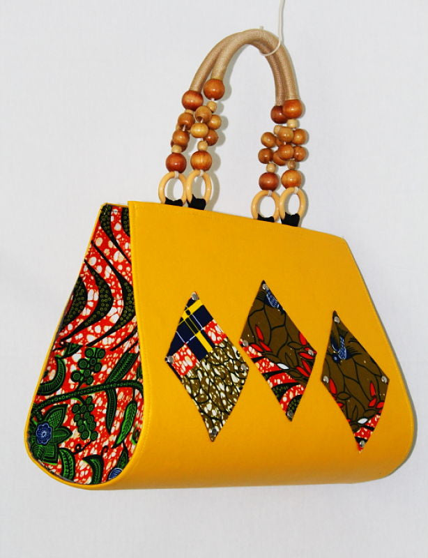 African Cloth Shoulder Bag - Yellow Diamonds
