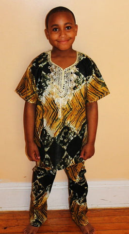Boys Atade Pant Set - Gold / Green Batik