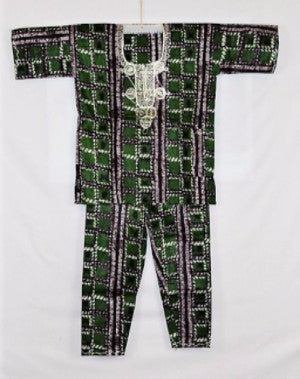 Boys Atade Pant Set - Green & Brown