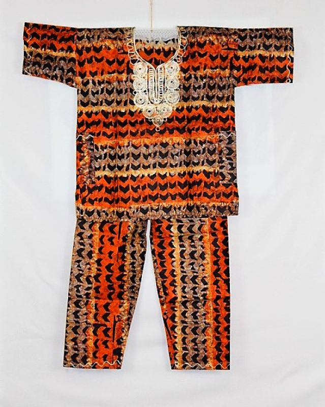 Boys Atade Pant Set - Orange & Brown