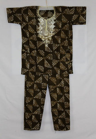 Boys Atade Pant Set - Brown Triangles