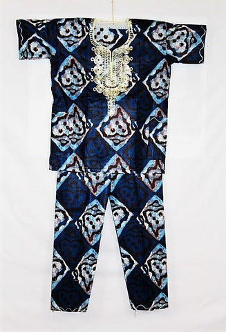 Boys Atade Pant Set - Blue & White