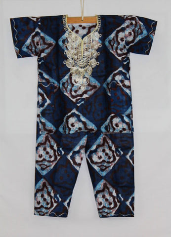 Boy's Atade Pants Set - Blue & White