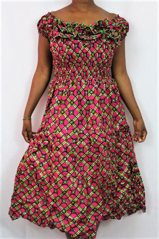African Print Maxi Sun Dress - Green Boxes