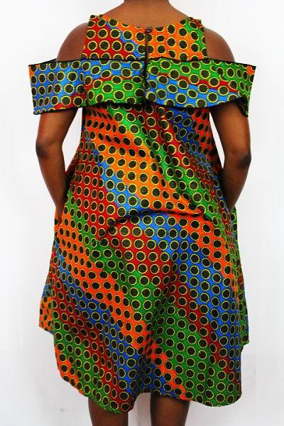 African Print Dress - Rainbow Dots