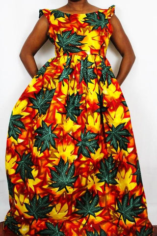 African Print Maxi Dress - Mango Leaves