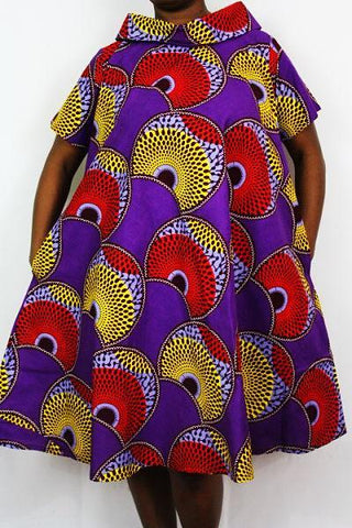 African Print Dress - Asubera Circles