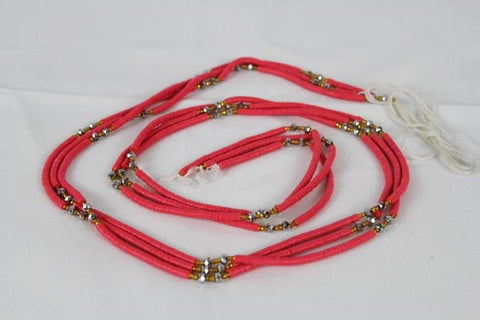 KROBO African Waist Beads - Pink w/gold & silver color accents