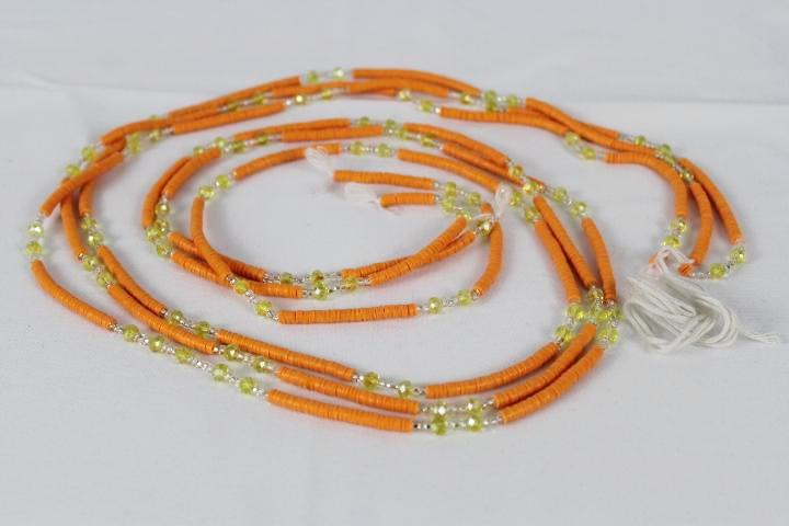 KROBO African Waist Beads - Orange w/white & yellow accents