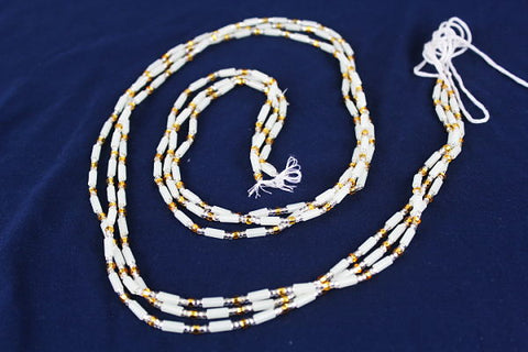 KROBO African Waist Beads - White w/ gold accents