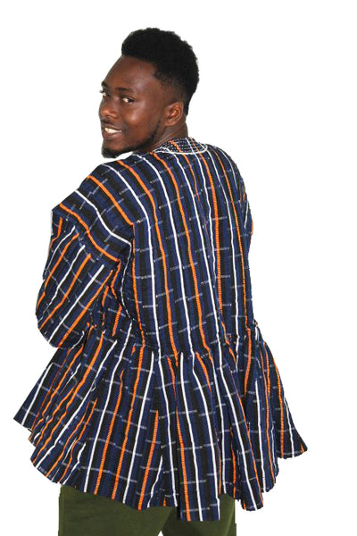 African Batakari / Fugu - Dark Blue, Black, Orange & White