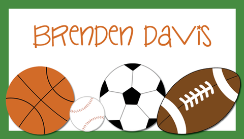 children sports calling card basketball, soccer, baseball, football