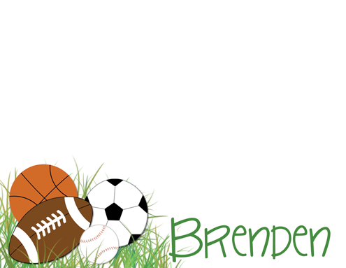 personalized sports correspondence card football, basketball, soccer, baseball