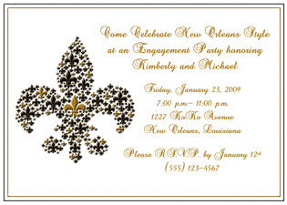 black and gold fleur de lis invitation/announcement