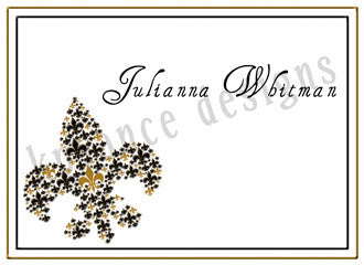 personalized black and gold fleur de lis thank you note cards