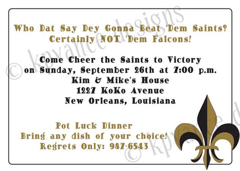 black and gold silhouette fleur de lis invitation