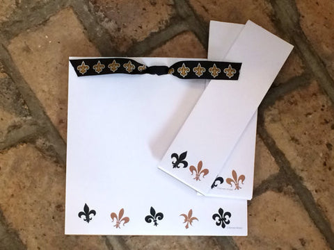 Black and Gold Fleur de Lis Note Pad 3 piece Set