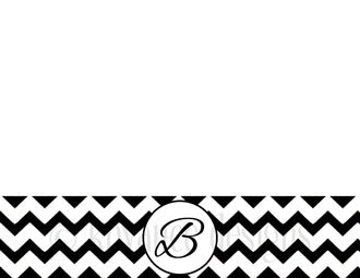 Black and White Chevron Monogram Note Card Stationery