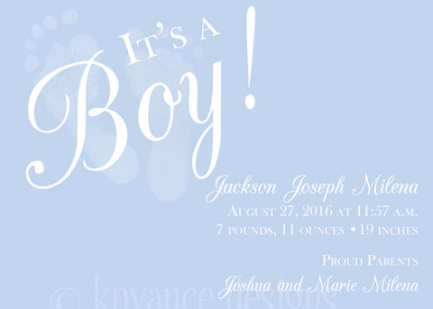 Blue Baby Footprint Invitation/Announcement