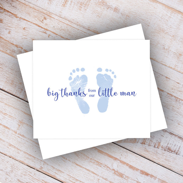 blue baby feet little man note card/thank you note
