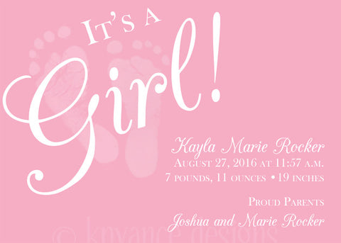 Pink Baby Girl Feet Invitation/Announcement