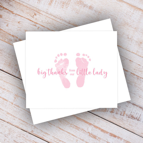 pink baby feet little lady note cards