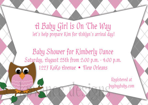 pink owl argyle invitation/announcement