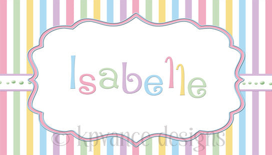 Personalized pastel stripe child's calling card/gift tag