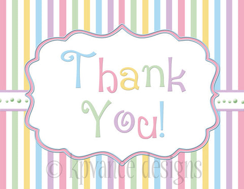 "Pastel stripe ""Thank You"" note card"