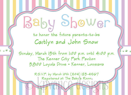 Pastel Stripes Baby Shower Invitation