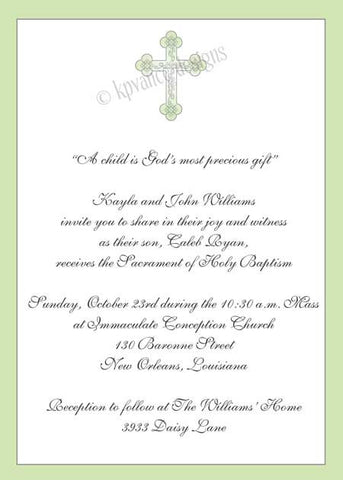 green cross invitation/announcement
