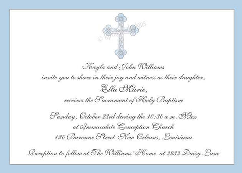 blue cross invitation, announcement