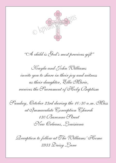 pink cross invitation/announcement