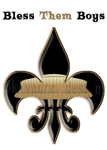 Gold New Orleans Superdome sitting inside a black fleur de lis