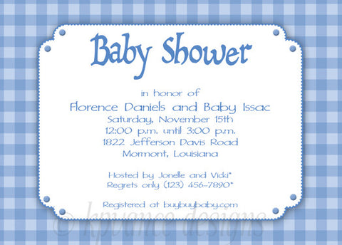 blue gingham invitation/announcement