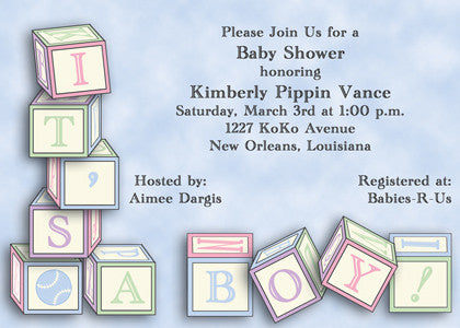 it's a boy blue baby blocks invitation/announcement