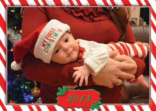 Candy cane strip border around your personal photo