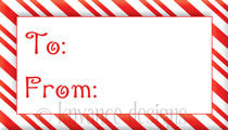 Candy cane border Christmas gift tag