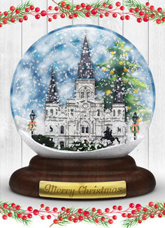 New Orleans St. Louis Cathedral Snowglobe Christmas Greeting Card
