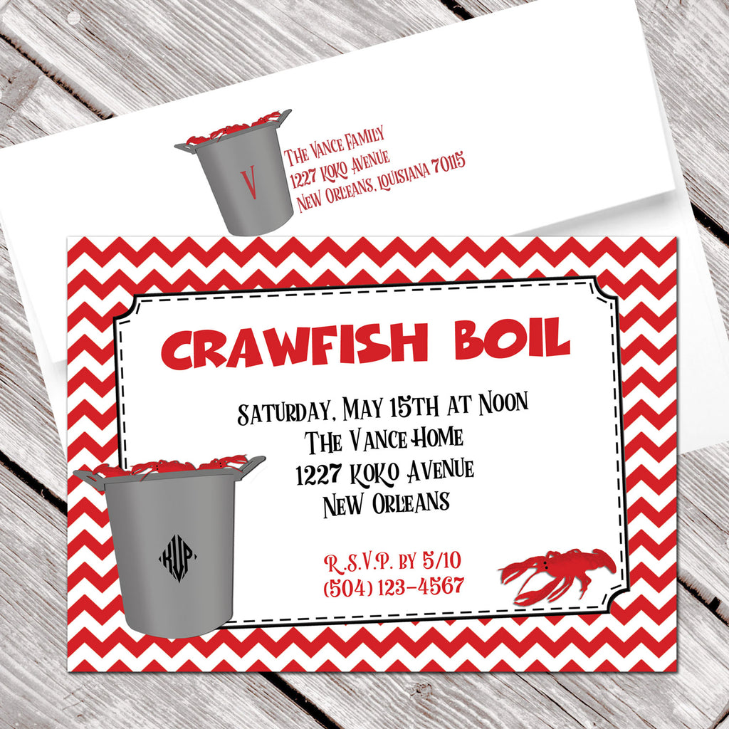 crawfish boil invitation red chevron