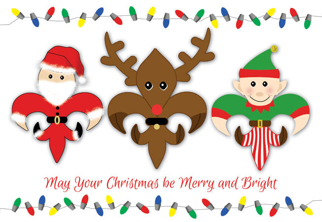 Fleur de Lis Christmas Characters Greeting Card